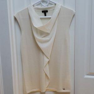 Escada Winter White Wool Blouse w. Silk Cowl Detai